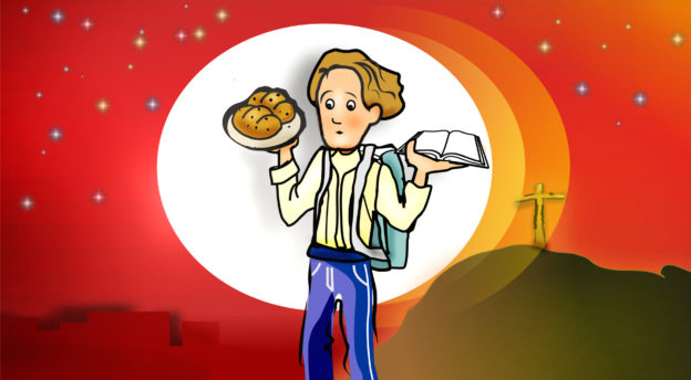 Lapsityömateriaalissa kuva pojasta, jolla on oikeaa elämän leipää.