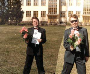 Mika Tuovinen Lähetyskoulun päätöspäivänä keväällä 1993.