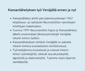 Kansanlähetyksen työ Venäjällä ennen ja nyt.