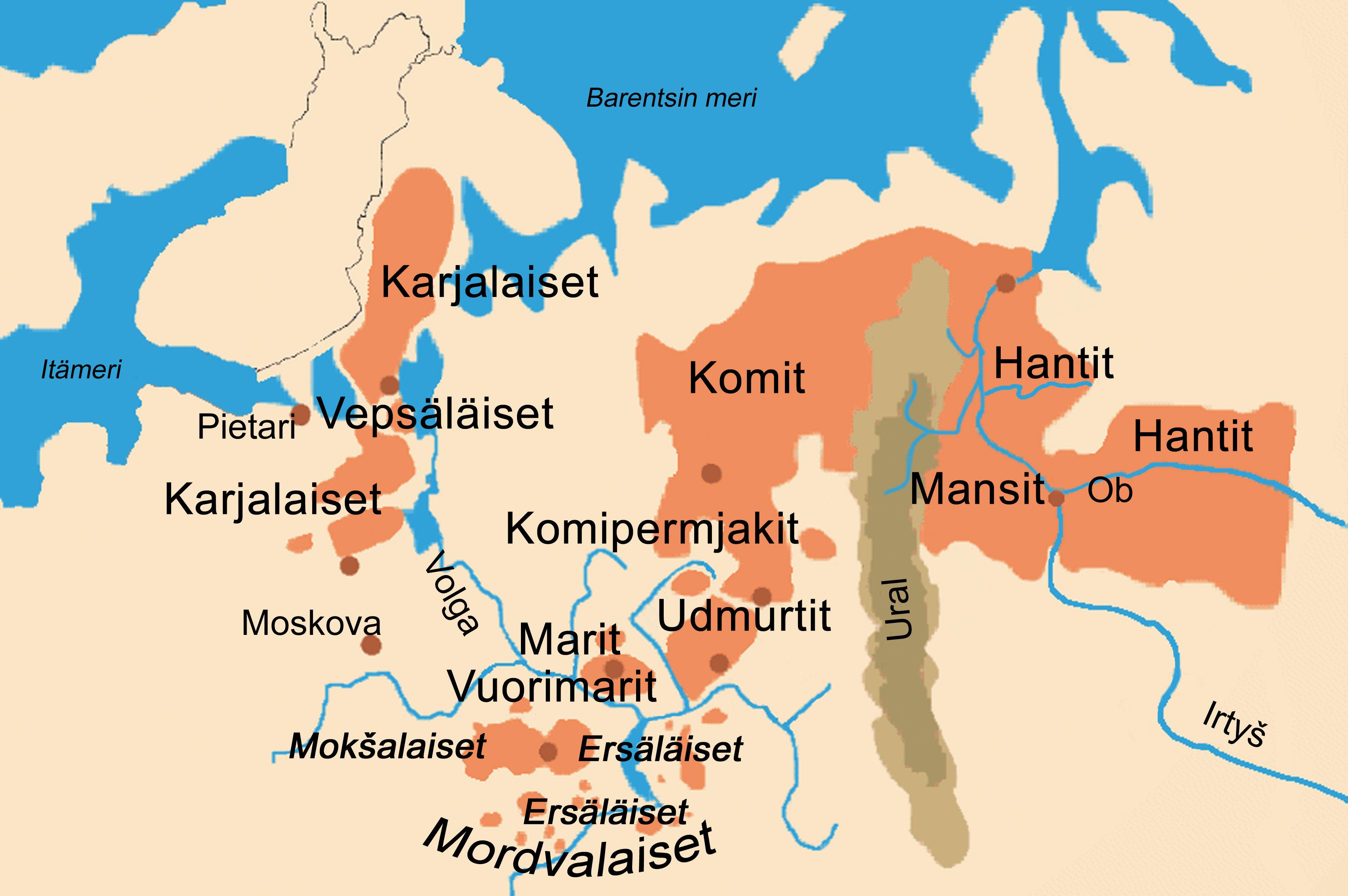 Kartalla on merkitty alueet, joilla Suomen sukukieliä puhutaan.